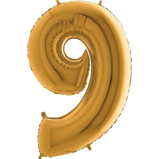 "Снимка на Фолиев балон цифра ""9"" златен 100см. Grabo"