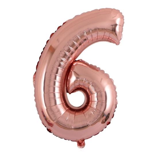 Балон Цифра 6 Розово Злато 100 см