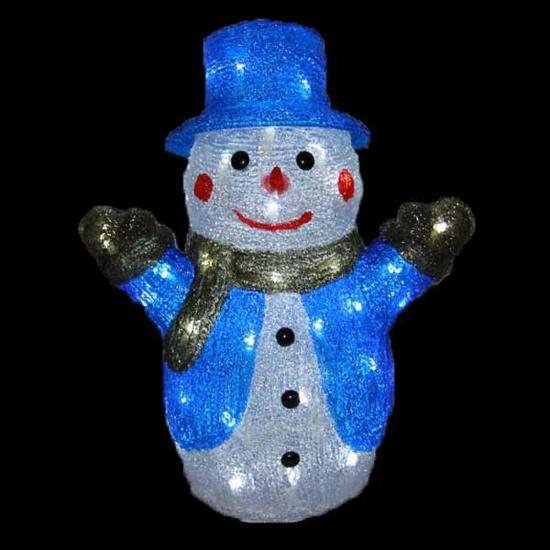 Акрилна Светеща Фигура Снежен Човек Бели LED /диодни/ Лампички 36 см
