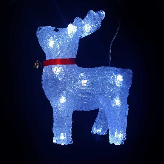 Акрилна Светеща Фигура Елен Бели LED /диодни/ Лампички 18х24 см На Батерии
