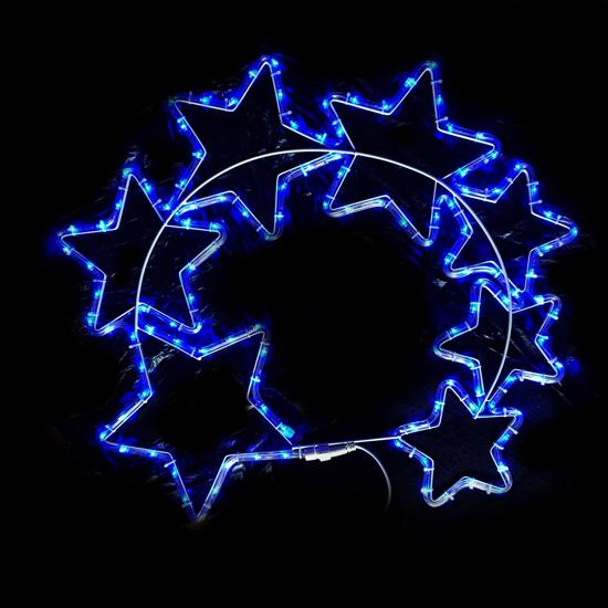Фигура 7 Звезди Сини LED Лампички 70х70 см