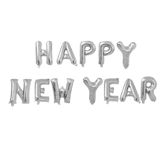 Комплект Фолиеви Балони Надпис Happy New Year Сребърни 40 см