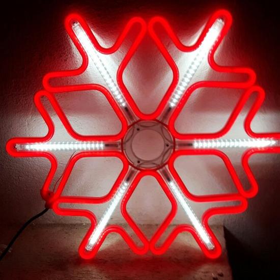 Светеща Фигура Снежинка Червена - LED Лампички 50 см