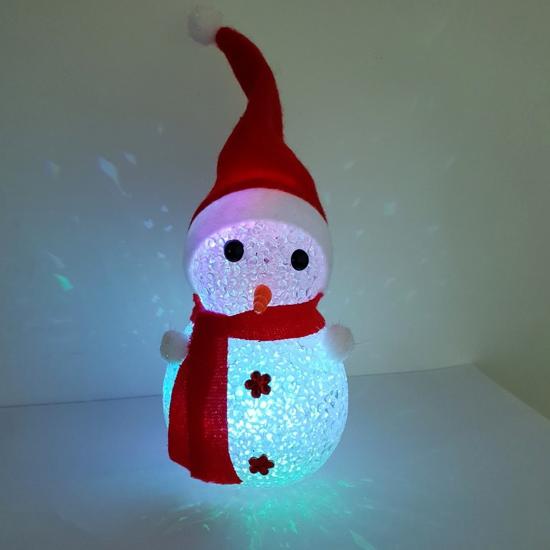 Акрилна Светеща Фигура Снежен Човек Червен Многоцветни LED /диодни/ Лампички 15 см На Батерии