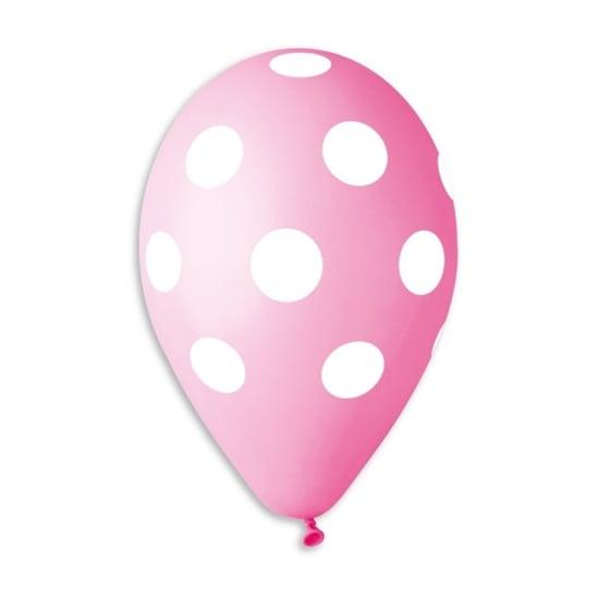 rozov-balon-s-pechat-beli-tochki