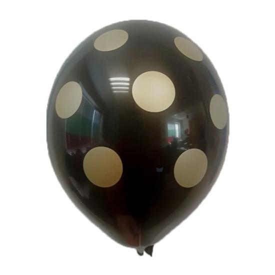 Черен Балон С Печат Златисти Точки 33 см