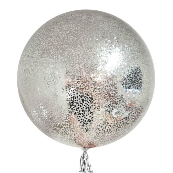balon-s-malki-srebristi-konfeti