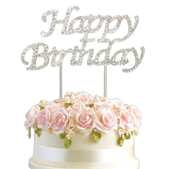 Топер за торта Happy Birthday Сребрист с камъчета
