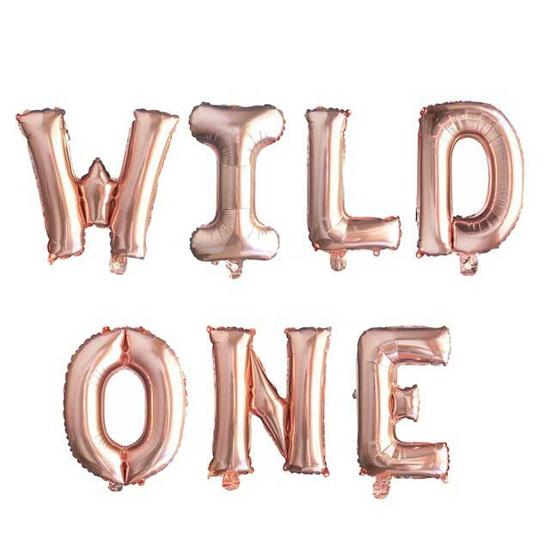 foliev-balon-nadpis-wild-one-rozovo-zlato