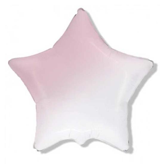 Снимка на Фолиев балон звезда розово и бяло омбре 45см