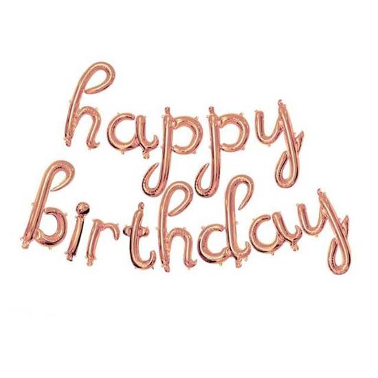 Снимка на Фолиеви балони надпис Happy Birthday розово злато ръкописен