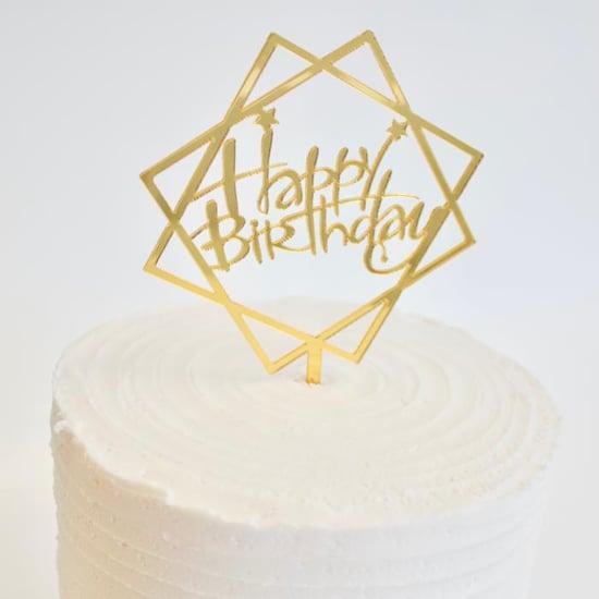 Снимка на Топер за торта Happy Birthday златист квадратен 10см.