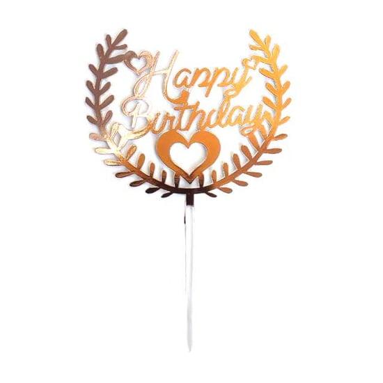 toper-za-torta-happy-birthday-rozovo-zlato-surca