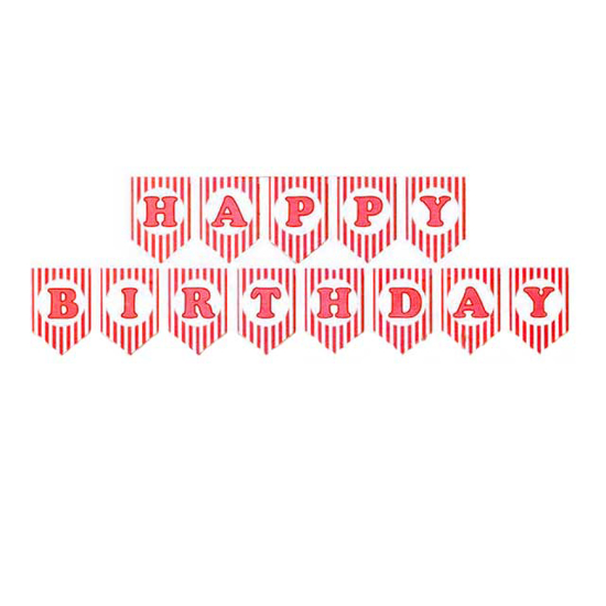 Снимка на Банер Happy Birthday червено бяло рае