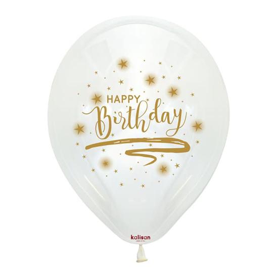 Снимка на Балони Happy Birthday със златист надпис 5 броя
