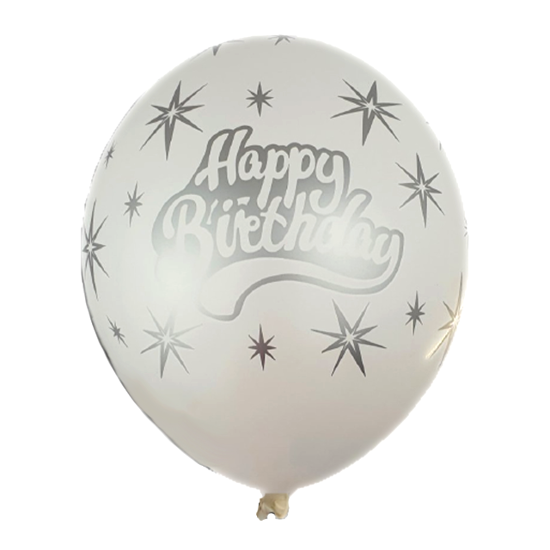 Снимка на Балони с надпис Happy Birthday и звезди в бяло и сребристо 5 броя