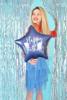 Снимка на Фолиев балон звезда Happy Birthday син холограмен 40см.