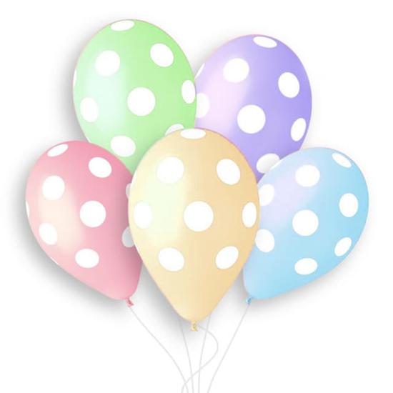Снимка на Балони микс макарон цветове с бели точки 30см. 5 броя