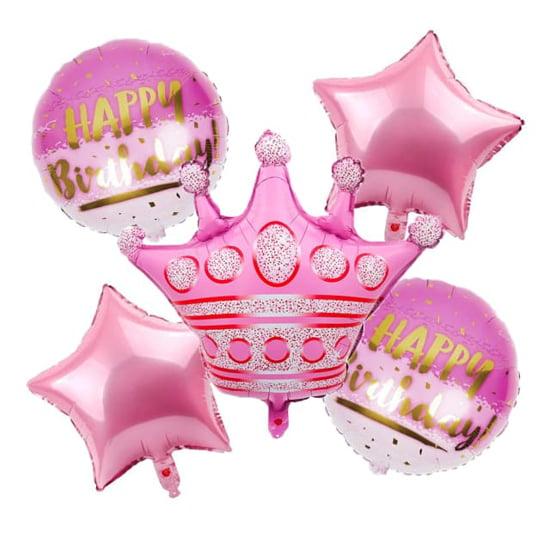 "Снимка на Комплект фолиеви балони ""Happy Birthday корона розов"" 5 броя"