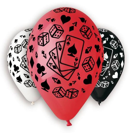 Снимка на Балон с печат карти и зарове микс 30см. 5 броя
