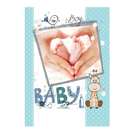 "Снимка на Картичка ""Baby Boy"" за новоредено бебе момче с жирафче"