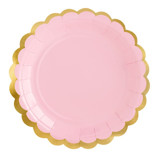 Снимка на Парти чинийки розови със златист кант 18см. 6 броя