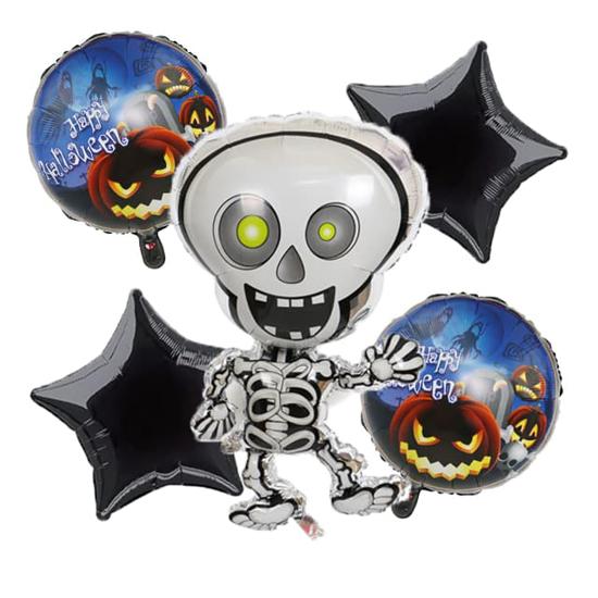 Комплект фолиеви балони за Хелоуин със скелет 5 броя